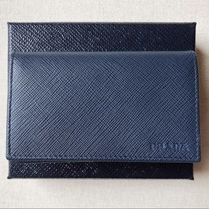 New Authentic Prada Card Wallet Navy Blue Leather